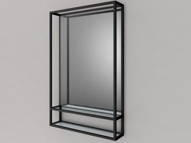 Wall-mounted framed stainless steel mirror FINE | Mirror
