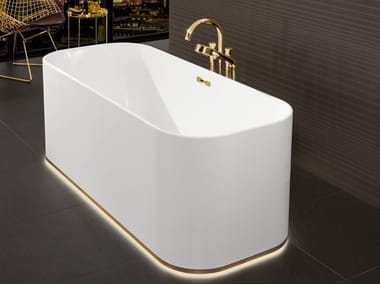 Freestanding rectangular Quaryl® bathtub with light FINION | Freestanding bathtub