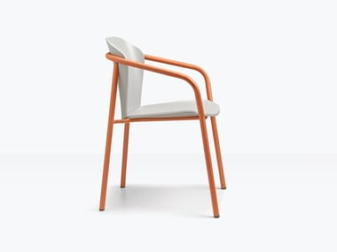 Steel and wood chair with armrests FINN METAL WOOD | Chair with armrests