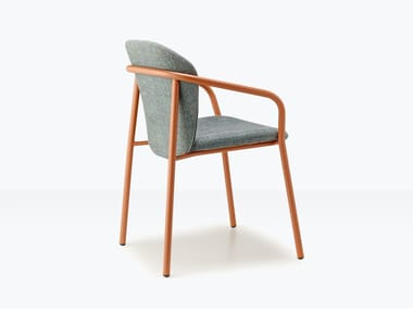 Upholstered steel chair with armrests FINN