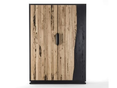 Solid wood highboard with doors FIRE HIGH