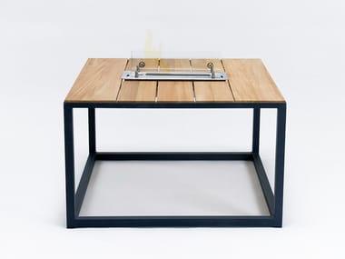 Square aluminium and teak coffee table FIRE