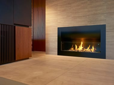 Built-in bioethanol steel fireplace with panoramic glass FIREBOX 1100CV