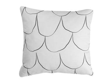 Motif square cotton and linen cushion FISH | Cushion