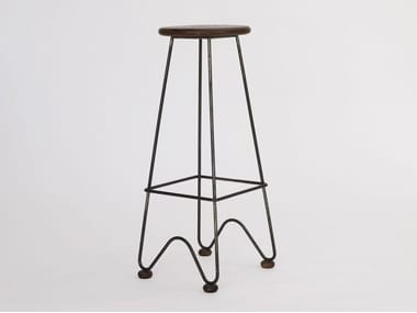 High metal stool with footrest FISH