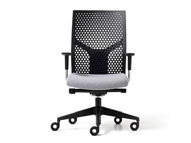 Polypropylene office chair with 5-Spoke base with armrests FIT POLY