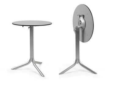 Contemporary style drop-leaf round aluminium contract table FLÛTE