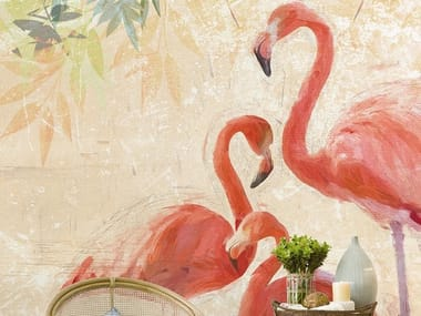 Tropical wallpaper, PVC free, eco, washable FLAMINGOS PARTY