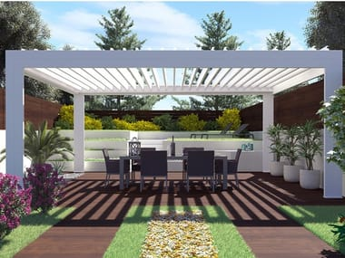 Freestanding aluminium pergola with adjustable louvers FLAP ONE | Freestanding pergola
