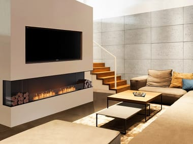 Bioethanol steel Fireplace insert with Panoramic Glass FLEX 122BY BX2