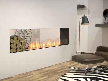 Bioethanol Double-sided steel Fireplace insert with Panoramic Glass FLEX 86DB BX1