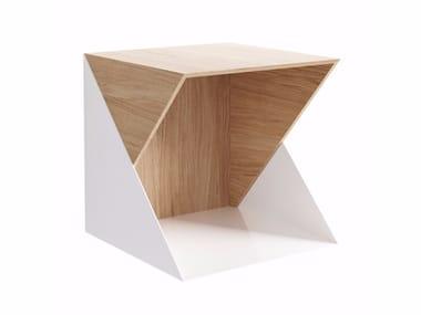 Wall-mounted modular wooden bookcase FLIP