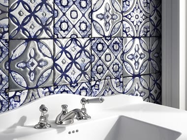 Glazed stoneware wall tiles with metal effect FLORA TILES