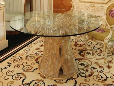 Round table in crystal and solid wood FLORAL