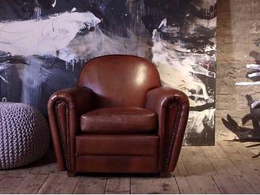 Club leather armchair with armrests FLORIDA   Armchair