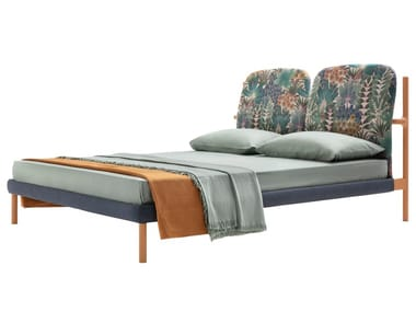 Contemporary style fabric double bed with upholstered headboard FLORIN