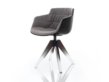 Upholstered trestle-based polycarbonate chair with armrests FLOW 10TH
