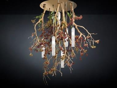 Lampada da soffitto a LED in vetro di Murano FLOWER POWER MANZANITE