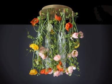 LED Murano glass ceiling lamp FLOWER POWER POPPY ROUND