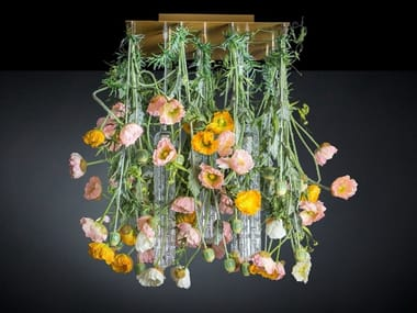LED Murano glass ceiling lamp FLOWER POWER POPPY SQUARE