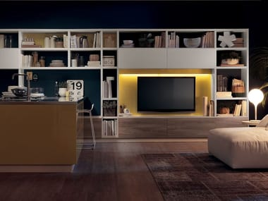 Sectional storage wall FLUIDA - Integrated kitchen module