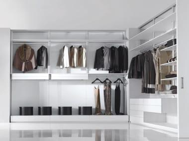 Corner sectional walk-in wardrobe FLY -SYSTEM