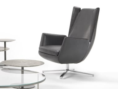 Swivel leather armchair with armrests FLY | Swivel armchair