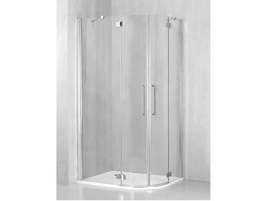 Box doccia angolare semicircolare con porta a battente FO-GI38