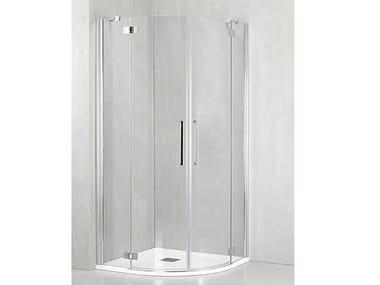 Box doccia angolare semicircolare con porta a battente FO-T55