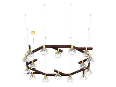 Lampada a sospensione a luce diretta in legno e vetro FOLIA 16 LIGHTS