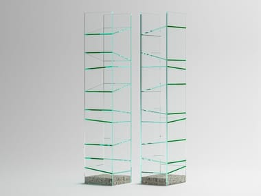 Freestanding glass bookcase FOLIO