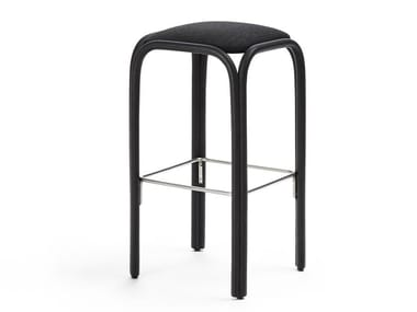 Contemporary style high wooden stool with integrated cushion with footrest FONTAL | High stool