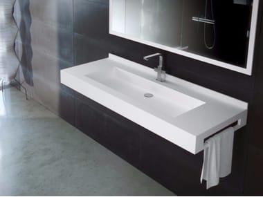 Rectangular wall-mounted Silexpol® washbasin with towel rail FONTANA FPCI06