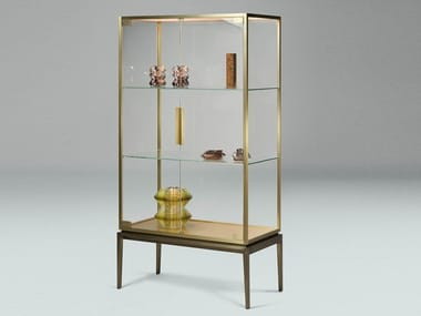 Brass and glass showcase with integrated lighting FOR LIVING | Display cabinet