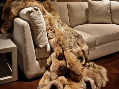 Natural fur throw and cushions FOREST