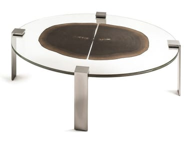 Oval wood and glass coffee table FORESTA | Oval coffee table