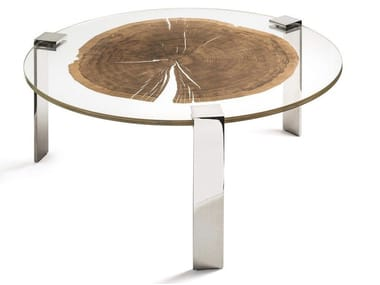 Round wood and glass coffee table FORESTA | Round coffee table