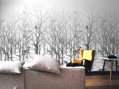 Panoramic landscape non-woven paper wallpaper FORET ENCHANTEE