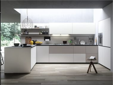 Fitted kitchen with peninsula FORMA MENTIS - ANGEL SKIN