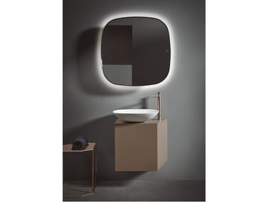 Single wall-mounted wooden vanity unit FORMA | Single vanity unit