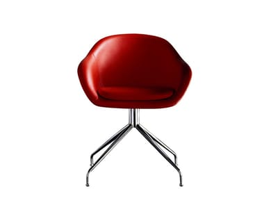 Upholstered trestle-based leather chair FORMULA | Trestle-based chair