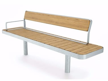 Steel and wood Bench with back FORUM | Bench with back