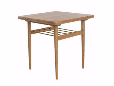 Square wooden coffee table with integrated magazine rack FOX | Square coffee table