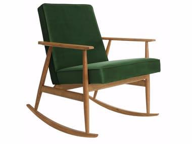 Rocking velvet easy chair with armrests FOX VELVET | Rocking easy chair