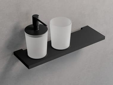 Mensola con porta bicchiere e dispenser sapone FRAME | Dispenser sapone