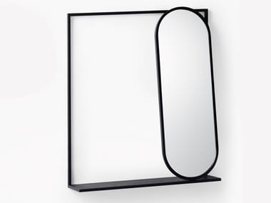 Oval wall-mounted mirror with shelf FRAME | Mirror