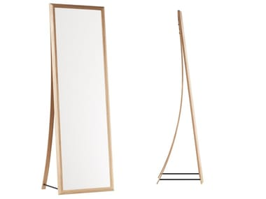 Freestanding rectangular oak mirror FRAMED | Mirror