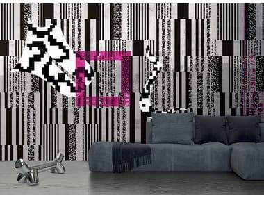 Papel de parede geométrico lavável óptico de material sintético estilo moderno FRAMMENTI