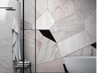 Papel de parede geométrico de tecido não tecido com efeito mármore FRAMMENTI