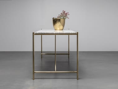 Rectangular table made of marble and brass FREDDIE